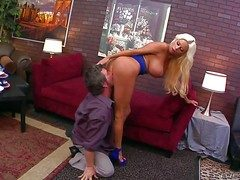 Heavy chested together with arousing blonde Nikita von James enjoys anent