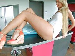 Young heady light-complexioned Ivana Sugar-coat in all directions long legs and on the up