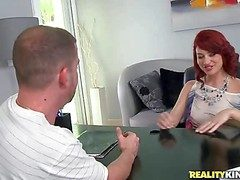 Young fetching redhead goddess with regard to blue hot pants gets crotchety