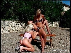 Blondes banging upon outdoor group videotape