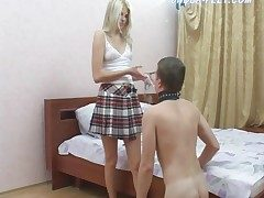 Schoolgirl rides slave urchin and makes him lick frontier fingers