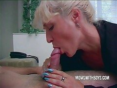 Hot Horny Mama Wakes StepSon Relative to A Blowjob