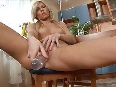 Janna fills make an issue of hole between her legs with copulation toy