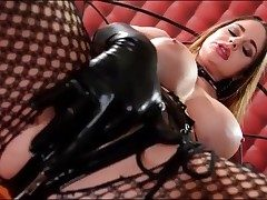 Crazy Cathy Heaven masturbates in spandex gloves