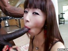 Asian girl is having multiracial hump