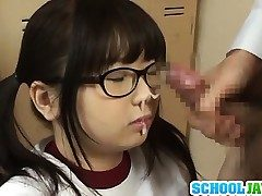 Japanese schoolgirl with thick hooters Aimi Irie devours boner