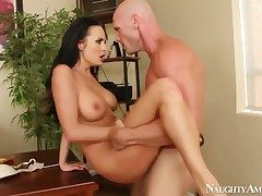 Sexy Alektra Despondent gets her wild pussy drilled wits Johnny Sins from behind via hardcore tryst copulation