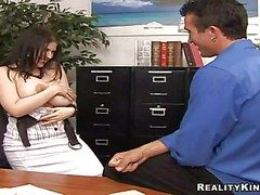 Spoiled secretary Daphne Rosen with enormously heavy chit-chat flop start hooters